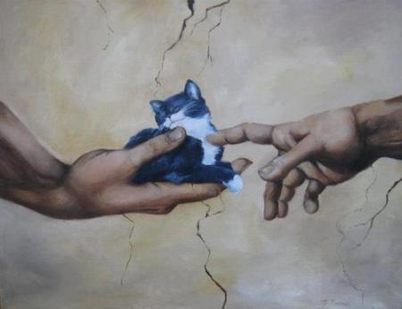 god and adam and a cat